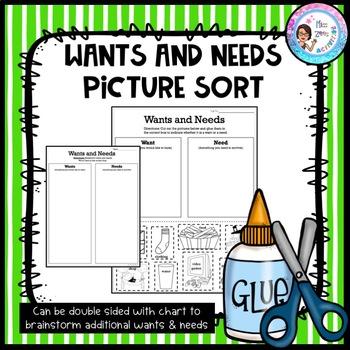Wants vs. Needs Sort - Primary by Miss Zees Activities | TpT