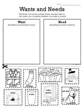 Wants vs. Needs Sort - Primary