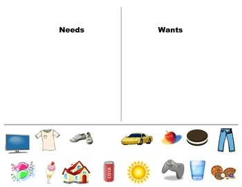 Wants vs needs cutout activity