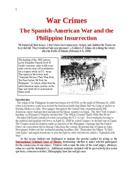 War Crimes: the Spanish-American War and the Philippine Insurrection