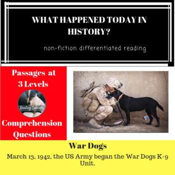 War Dogs Differentiated Reading Passage March 13