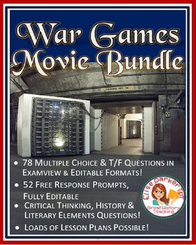 War Games Movie Worksheets Bundle -- Multiple Choice + Discussion Topics