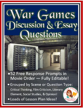 War Games Movie Worksheets -- Free Response Prompts -- Fully Editable!