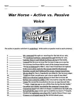 War Horse Grammar Extension - Active v. Passive Voice