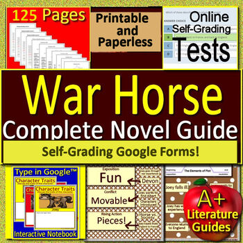 War Horse Novel Study Print AND Paperless Google Ready w/ Self-Grading Tests