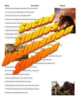 War Horse Movie Guide & Answer Key by Social Studies ...