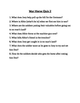 War Horse Movie Quizzes