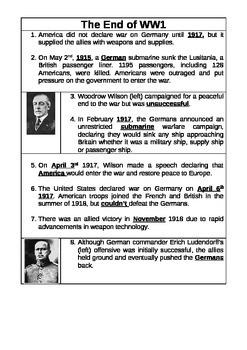 War Horse Novel Study - End of WW1 Informational Text Activities