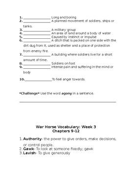 War Horse Novel- Weekly Vocabulary