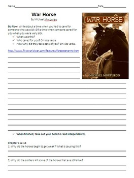 War Horse Unit Plan - Reading Guide, Chapter Questions, Organizers, Activities