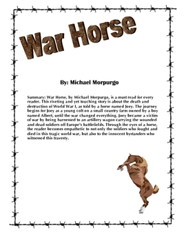 War Horse by Michael Morpurgo Unit Plan
