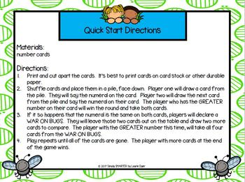 War On Bugs:  LOW PREP Bug Themed Number Comparison War Card Game