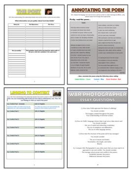 War Photographer Comprehension Activities Booklet!