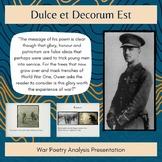 War Poetry Presentation Dulce et Decorum Est Wilfred Owen