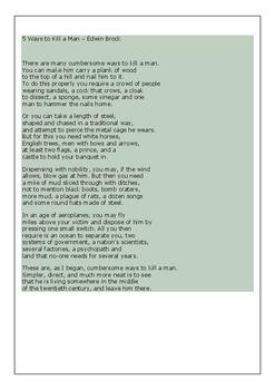 War Poetry Worksheets