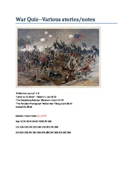 War Quiz on Various Stories and Notes