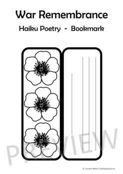 Anzac Day – Haiku Poem on a Poppy Bookmark