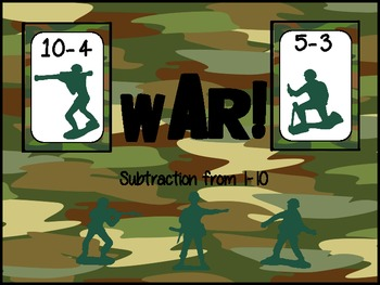 War!  Subtraction to 10