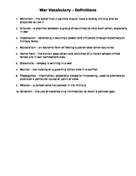 War Vocabulary Worksheet and Definitions (Middle School)