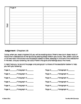 War With Grandpa Guided Reading Assignment Packet