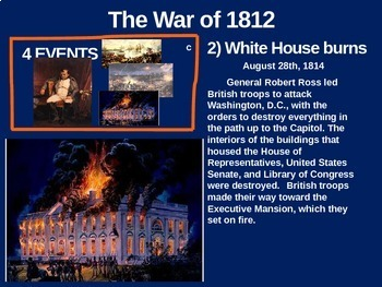 War of 1812 - 4 causes, 4 figures, 4 events, 4 effects (24-slide PPT)