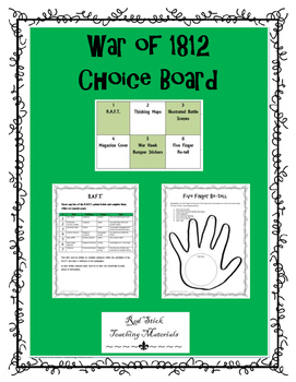 War of 1812 Choice Board