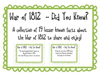War of 1812 -  Did you Know? A Collection of Fun Facts
