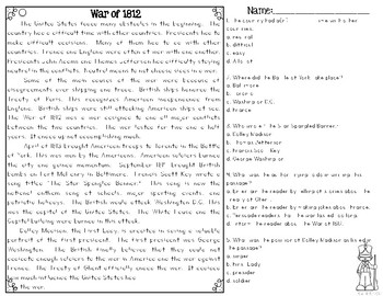 War of 1812 {Differentiated Close Reading Passages & Questions}