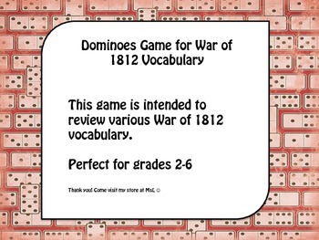 War of 1812 Dominoes Vocabulary Game
