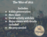 War of 1812 Google Slides with Notes and Vocab Activity