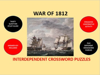 War of 1812: Interdependent Crossword Puzzles Activity