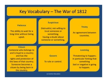 War of 1812 - Key Vocabulary