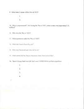 War of 1812/Lewis and Clark Expedition Study Guide or Quiz