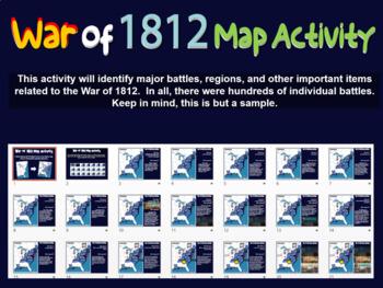 War of 1812 Map Activity: Fun, engaging follow-along 21-slide PPT