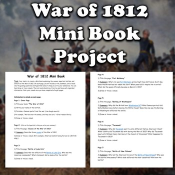 War of 1812 Mini Book