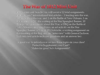 War of 1812 Mini Unit Bundle