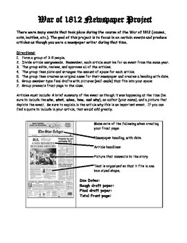 War of 1812 Newspaper Project