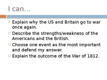 War of 1812 PowerPoint for Middle and High School History