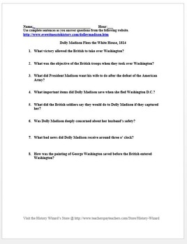 War of 1812 Primary Source Worksheet: Dolly Madison Flees the White House