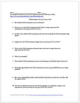 """War of 1812 Primary Source Worksheet: USS Constitution """"Old Ironsides"""""""