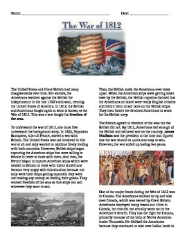 War of 1812: Reading and Questions