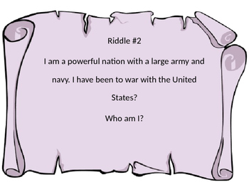 War of 1812 Riddles 2nd Grade