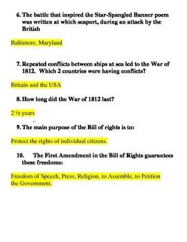 War of 1812 Study Guide