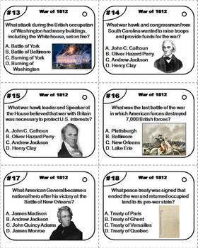 War of 1812 Task Cards