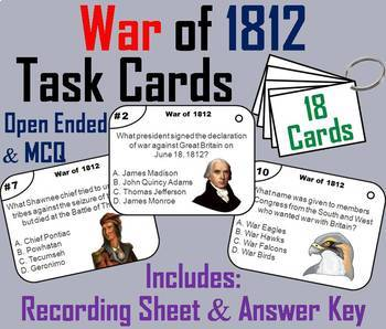 War of 1812 Task Cards and Activities Bundle
