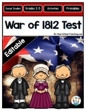 War of 1812 Test {Editable}
