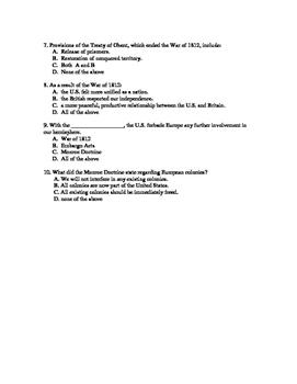 U.S. History Notes & Quiz: War of 1812-Monroe Doctrine