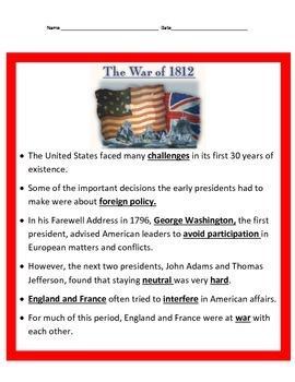 War of 1812 Unit 4th Grade Social Studies