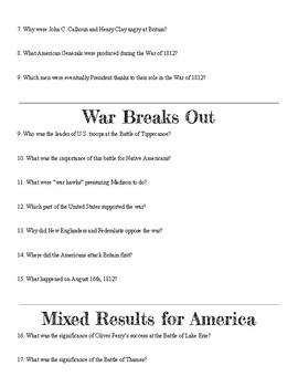 War of 1812 Webquest