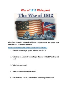 War of 1812 Webquest (With Key!)